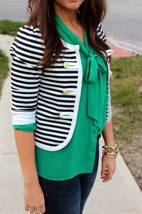 Emberald Slik Shirt With Black&White Stripe Jacket And Blue Pent