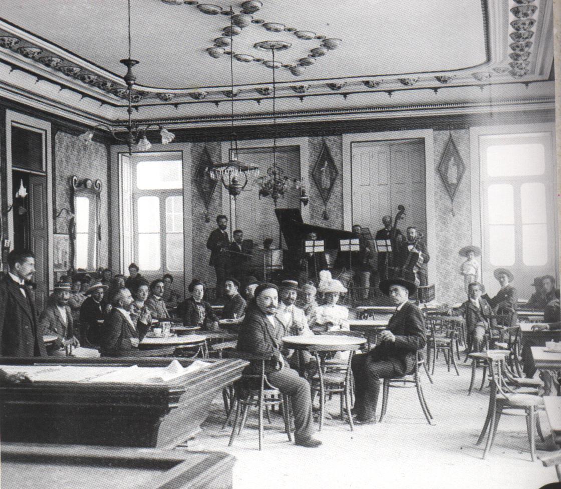 Aurélio Paz dos Reis Interior do Café Chinez sexteto musical 1907 #6C645F 1120 976