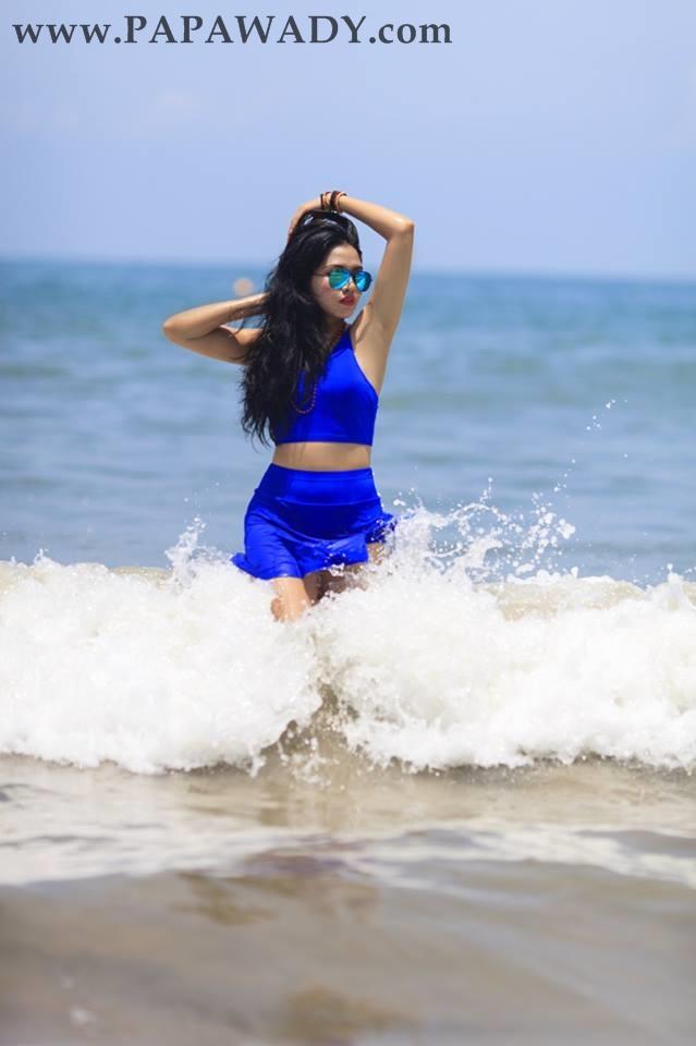 Myanmar Model Marina - Blue Queen At The Beach