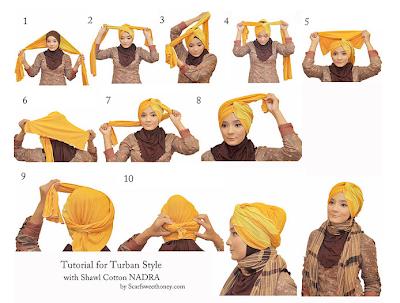 Cara Memakai Jilbab Model Turban Simpel Modis