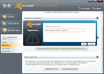 Register Avast:Registration Box