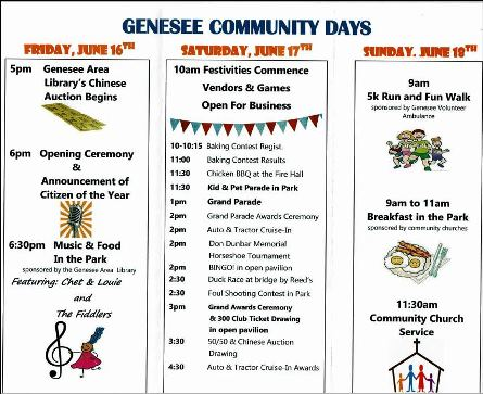 6-16/17/18 Genesee Community Days