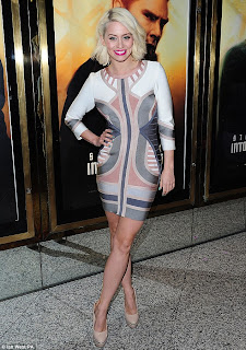 3/4 Sleeve, Bandage, Bodycon, Celeb Boutique, Colour Block, Contrast, Grey, Kimberly Wyatt, Mini Dress, Nude, Tribal Pattern, White, Star Trek,