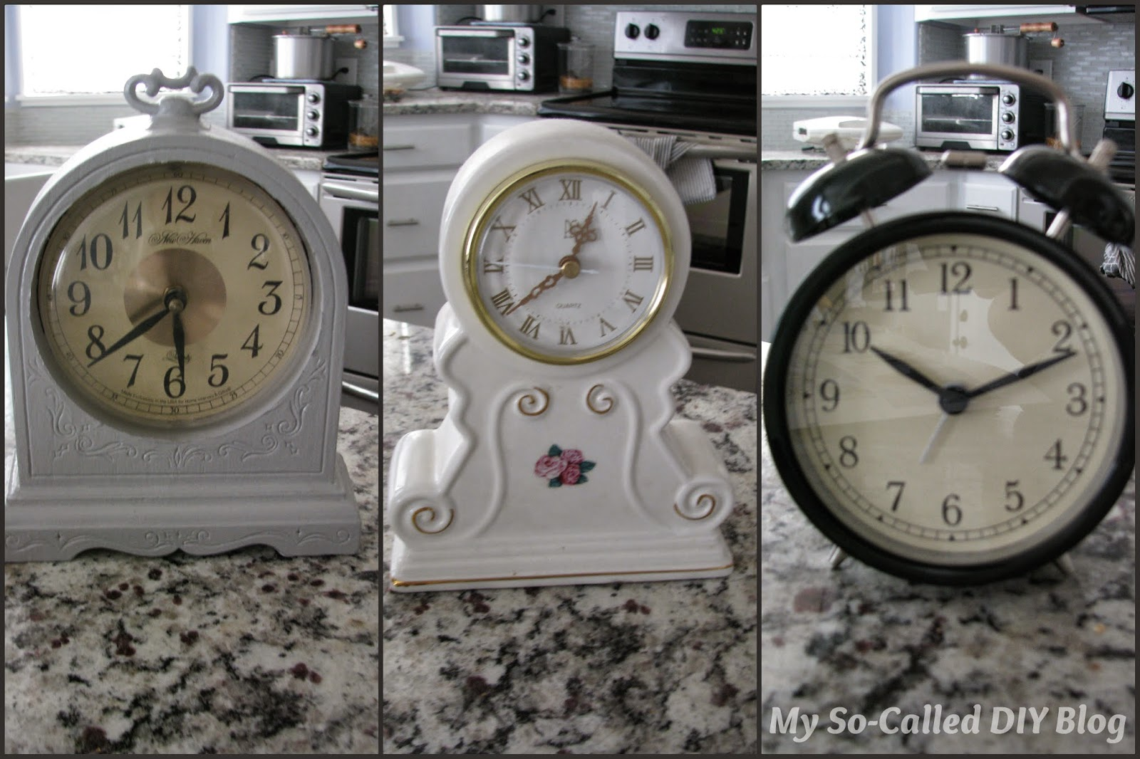 My so called diy blog using table clocks as picture frames the plastic coverings on the thrift store clocks were cloudy and scratched a bit so i took them off and used them as templates to cut out my pictures and jeuxipadfo Images