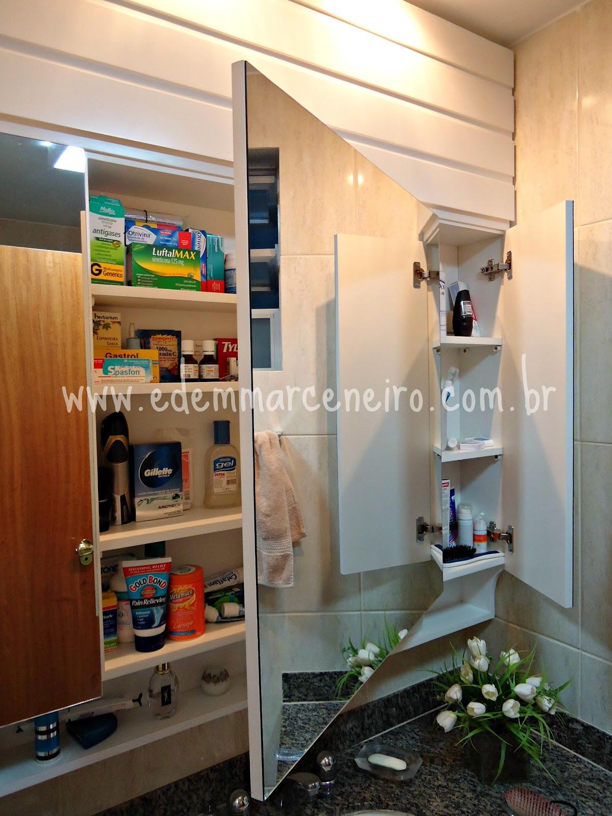 Armário Suspenso com Espelho e Porta laqueada para Banheiro  Edem Marceneiro -> Armario De Banheiro Suspenso