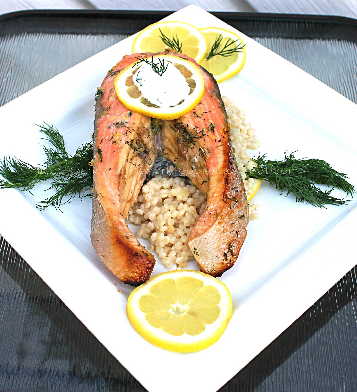 Baked Lemon Dill Salmon Steaks over Israeli Couscous | A New York ...