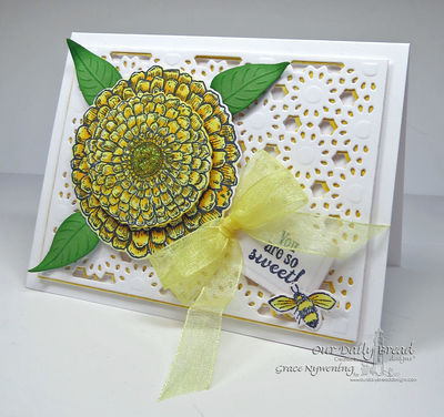 Stamps - Our Daily Bread Designs Zinnia, Sweeter than Honey, ODBD Custom Zinnia and Leaves Die, ODBD Custom Recipe Card and Tags Die, ODBD Custom Daisy Chain Background Die