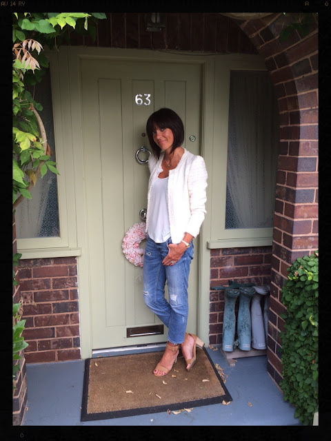 My Midlife Fashion, Distressed Denim, Block Tan Heel Sandal, Zara, Next, Massimo Dutti, Cream Boucle Jacket
