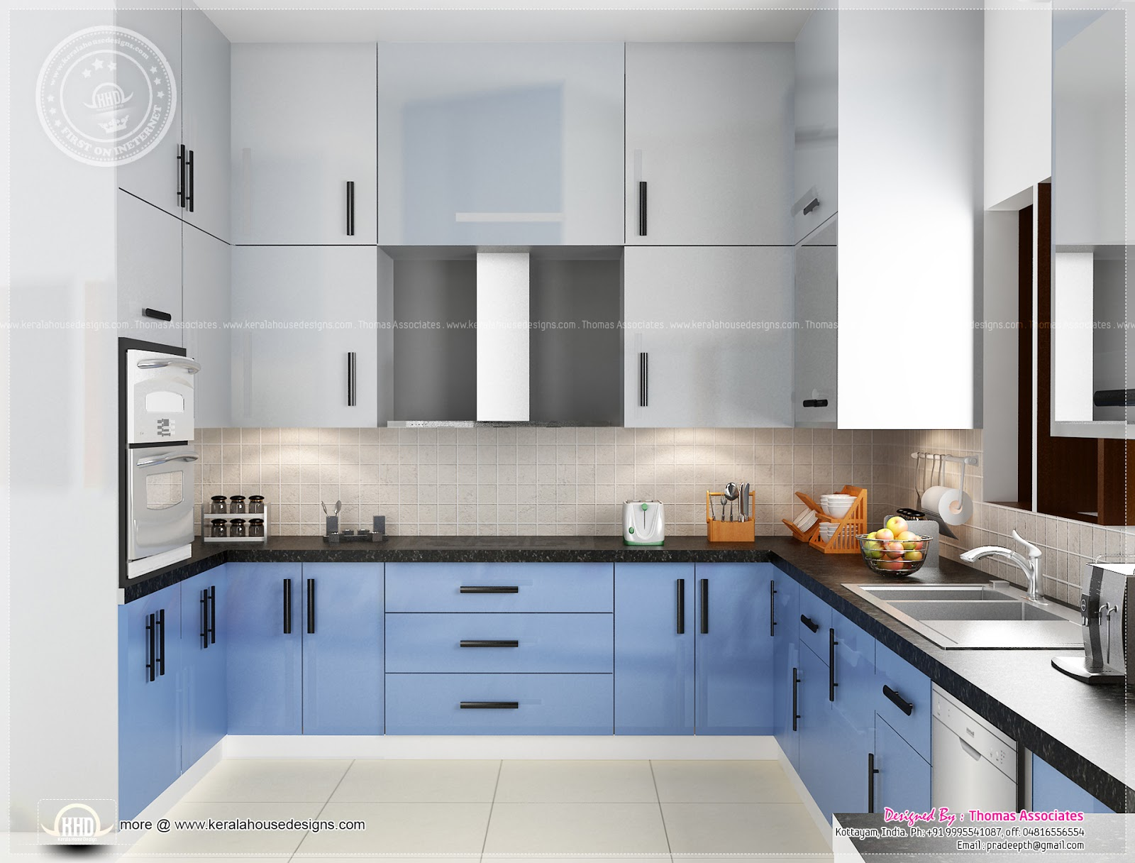 Beautiful blue toned interior designs home kerala plans for Latest model kitchen designs