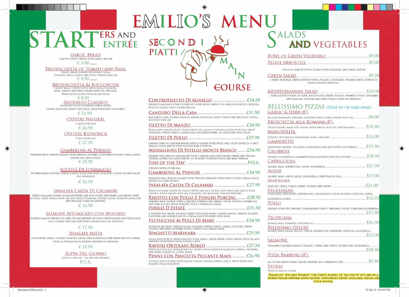 Creativ3designs restaurant menu - Italian cuisine menu list ...