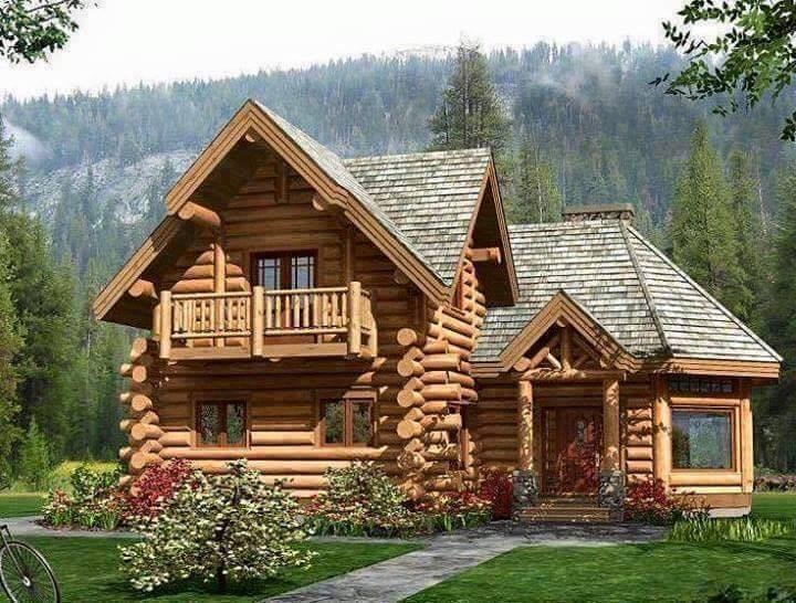 log or wood house - House Designs With Garden