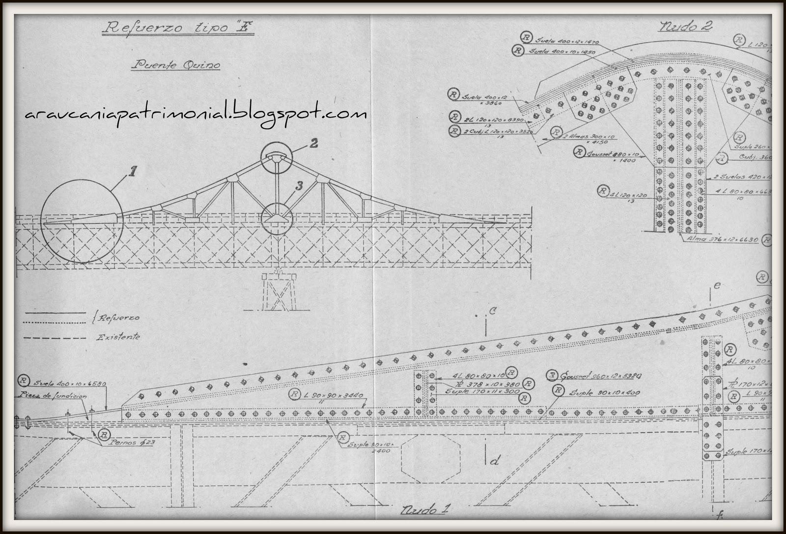 Araucan a historias y patrimonio puente quino superando for Planos ingenieria civil