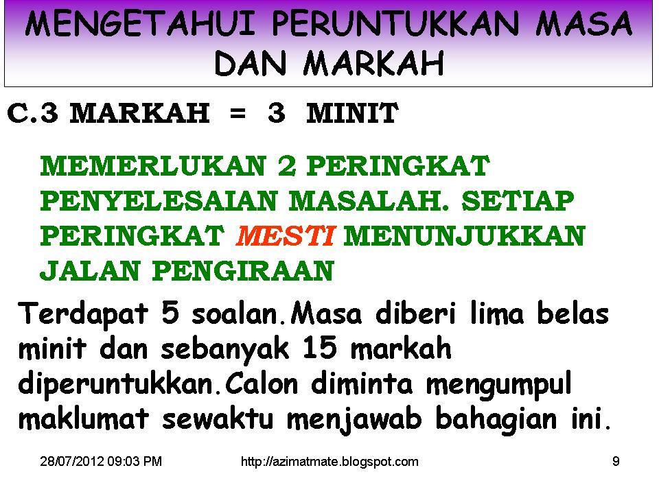 TEKNIK DAN MARKAH MATEMATIK KERTAS 2 TAHUN 2012