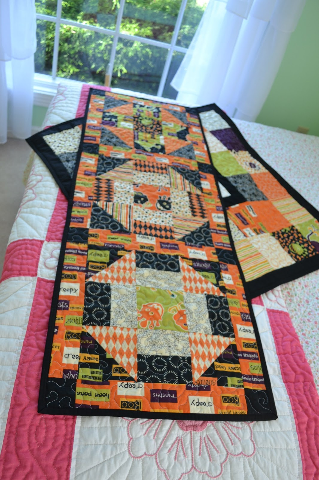 view handmade table of runner tag quilt quilted backing