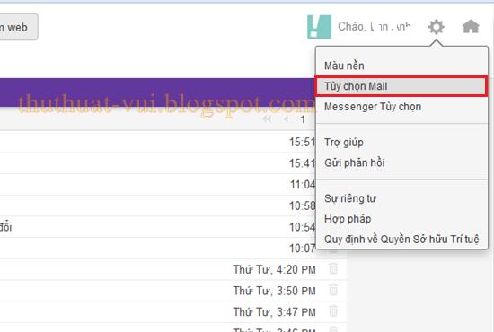 Cài đặt chữ ký cho Yahoo mail, tuy chon email