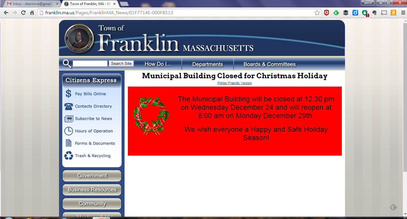 Franklin matters municipal building schedule for the holiday week