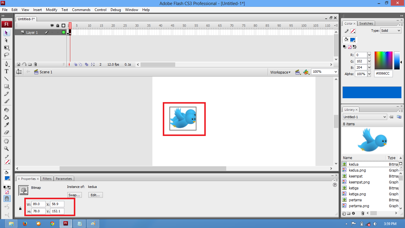 Cara Membuat Animasi Burung Twitter Dengan Flash