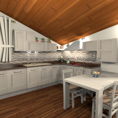 Soluzione per progettare una cucina nel punto più basso della mansarda