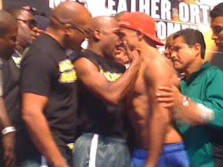 Mayweather vs Ortiz Weigh-in Faceoff