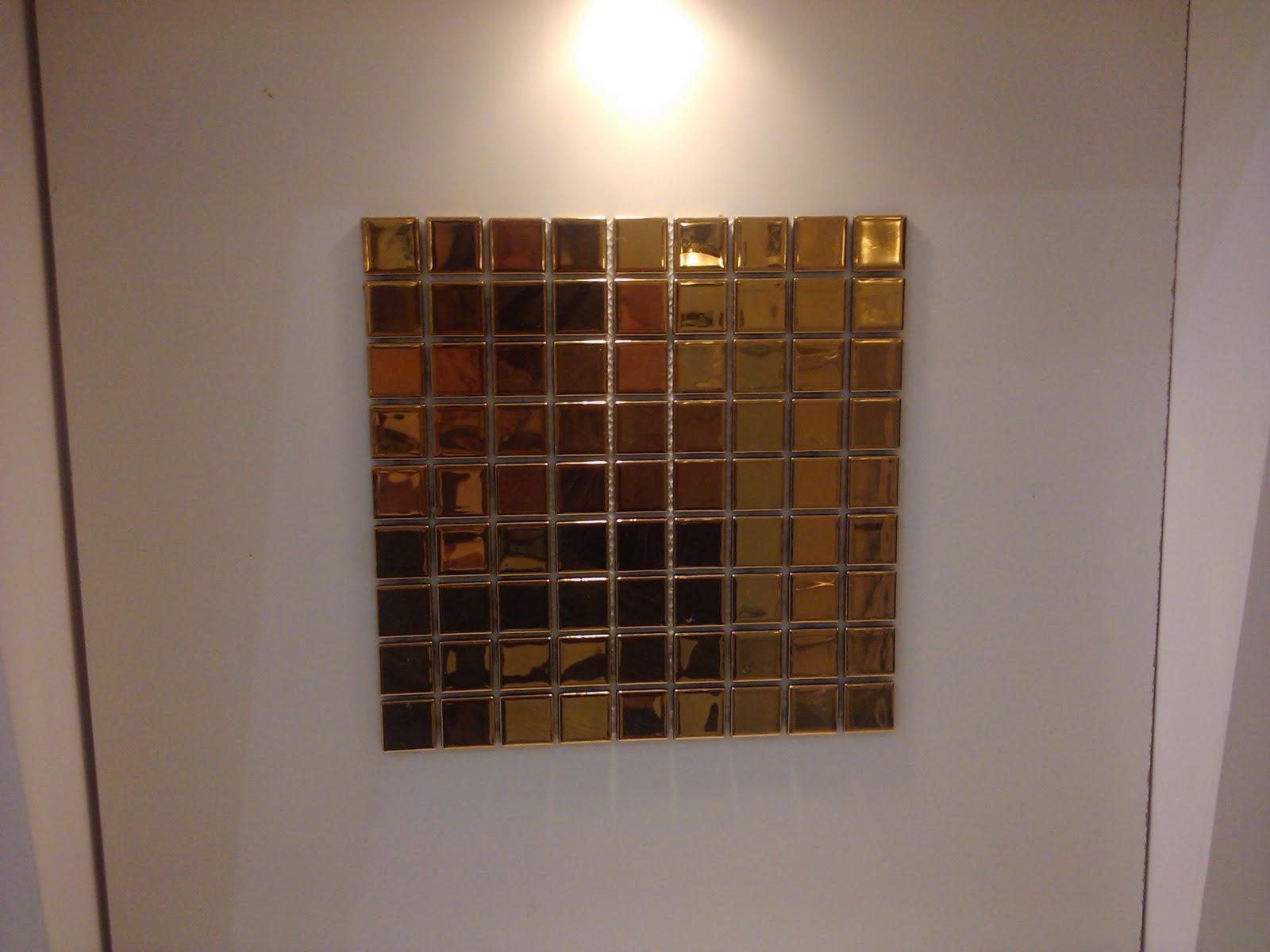 Pastilhas douradas da Glass Mosaic : #AC7A20 1600x1200 Banheiro Com Pastilhas Douradas