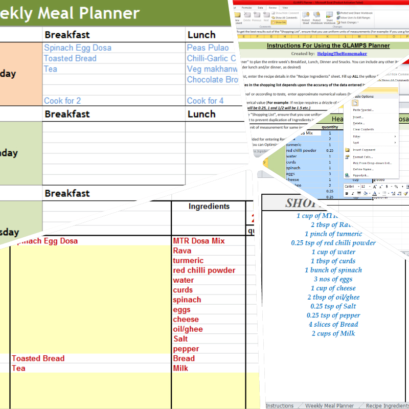 GLAMPS - A Simple and Flexible Menu Planner & Excel Shopping List ...