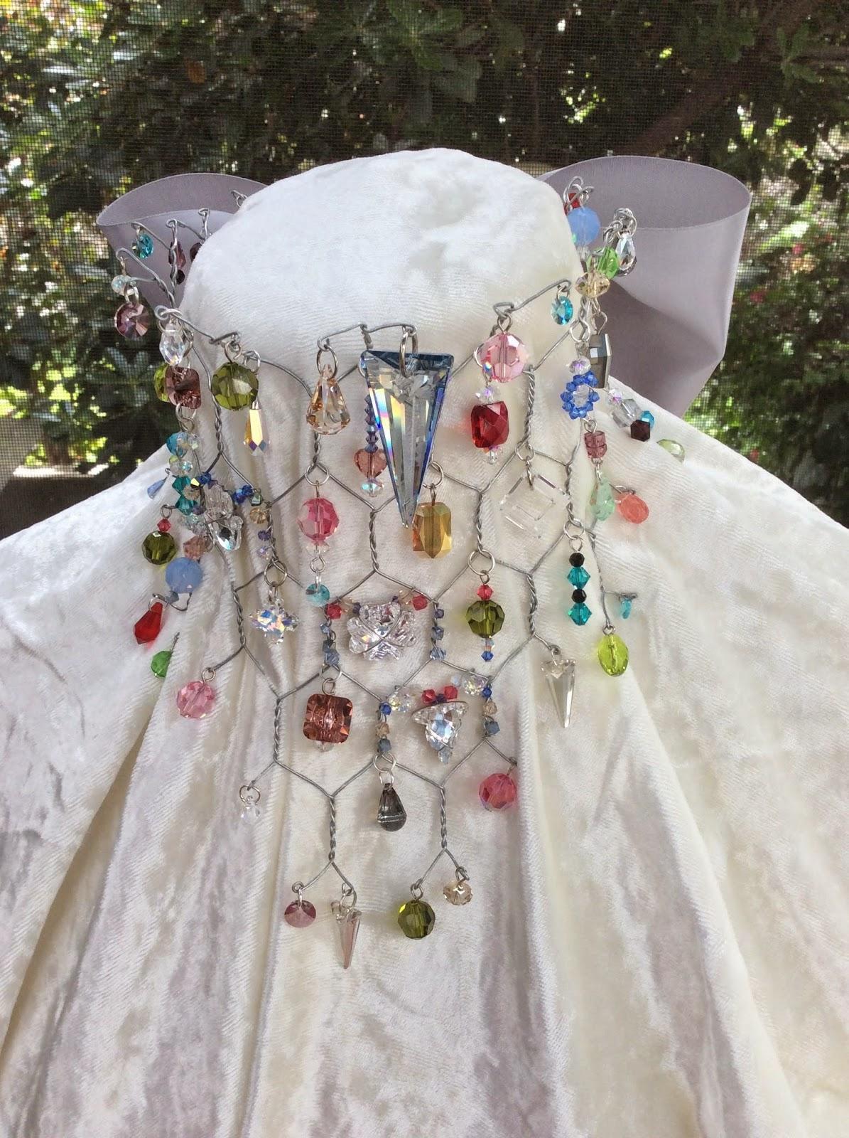swarovski crystals, chicken wire necklace, stefanie girard