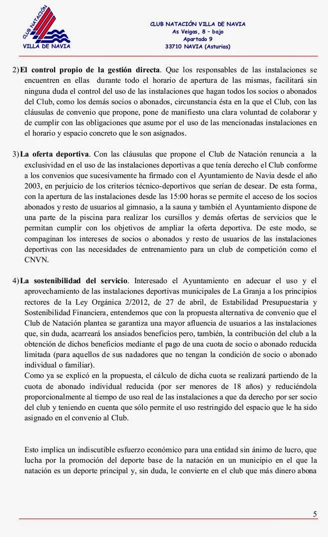 Club nataci n villa de navia propuesta de convenio for Convenio oficinas y despachos asturias