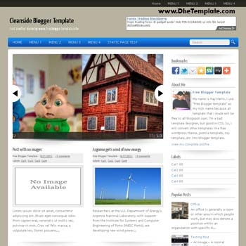 Cleanside blogger template convert WordPress to Blogger template. 3 column footer blogspot template