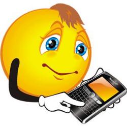 émoticône avec un téléphone mobile