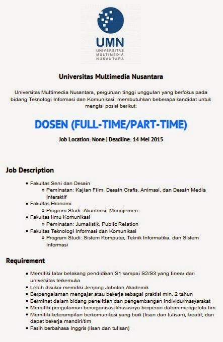 Lowongan kerja resmi Universitas Multimedia Nusantara