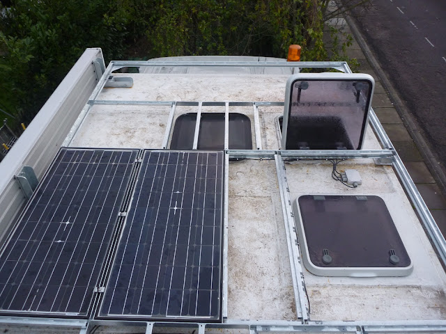 Roof rack of Jim the overland motorhome, unfinished with solar panels fitted