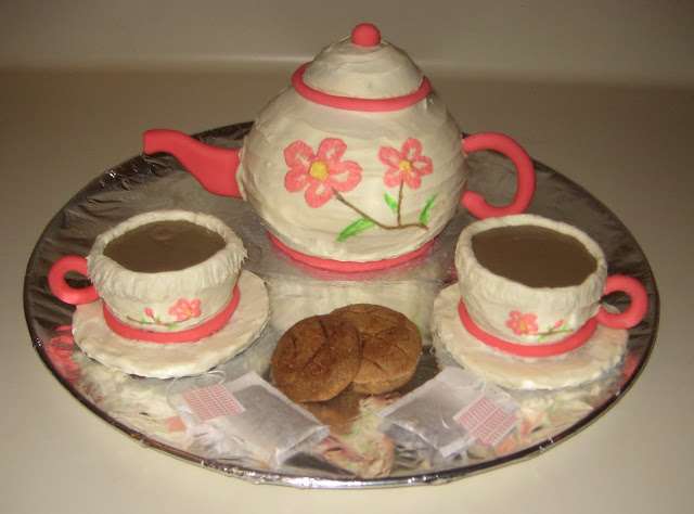 Tea Set Cake - Teapot, Teacups, Cookies, and Tea Bags 1