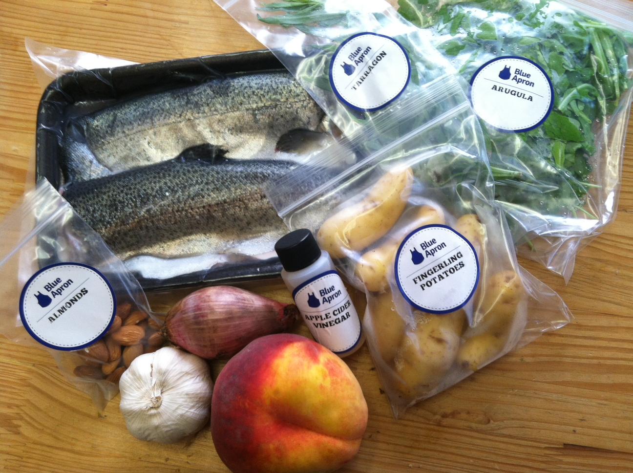 Blue apron diet - The First Meal In The Box That I Received Was Seared Trout With Peach And Arugula Salad My Husband I Prepared This Together He Cooked The Fish While I