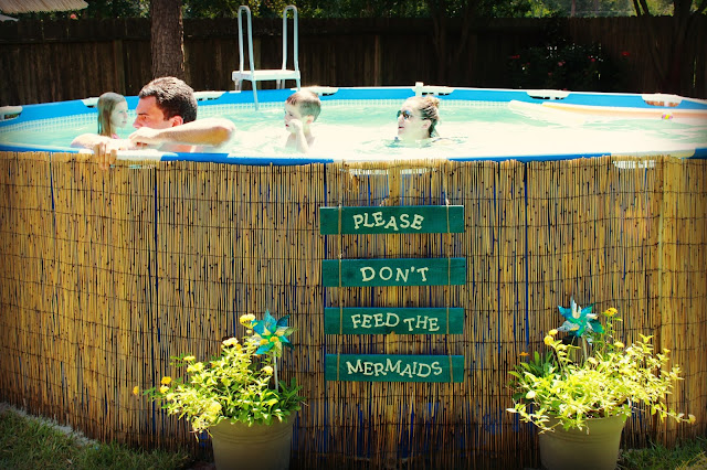 Intex, above ground pool, pallet sign, redneck swimming hole, mermaid pond