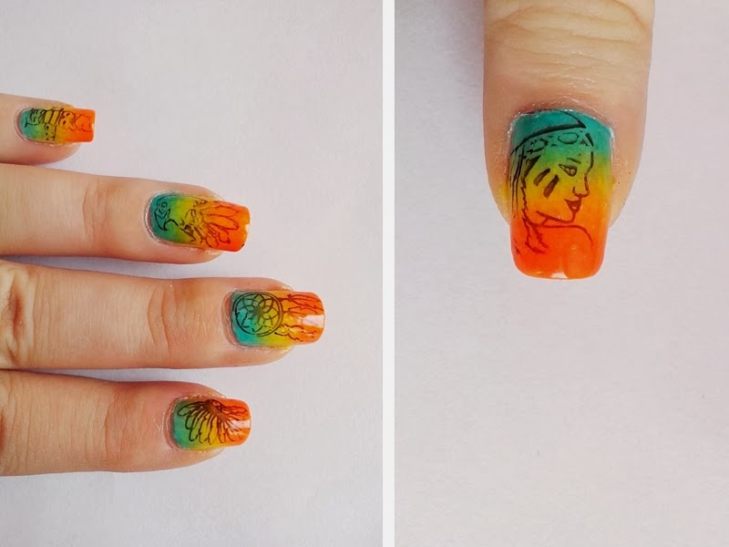 31DC2014 Day 10: GRADIENT Nails - Native American Nails