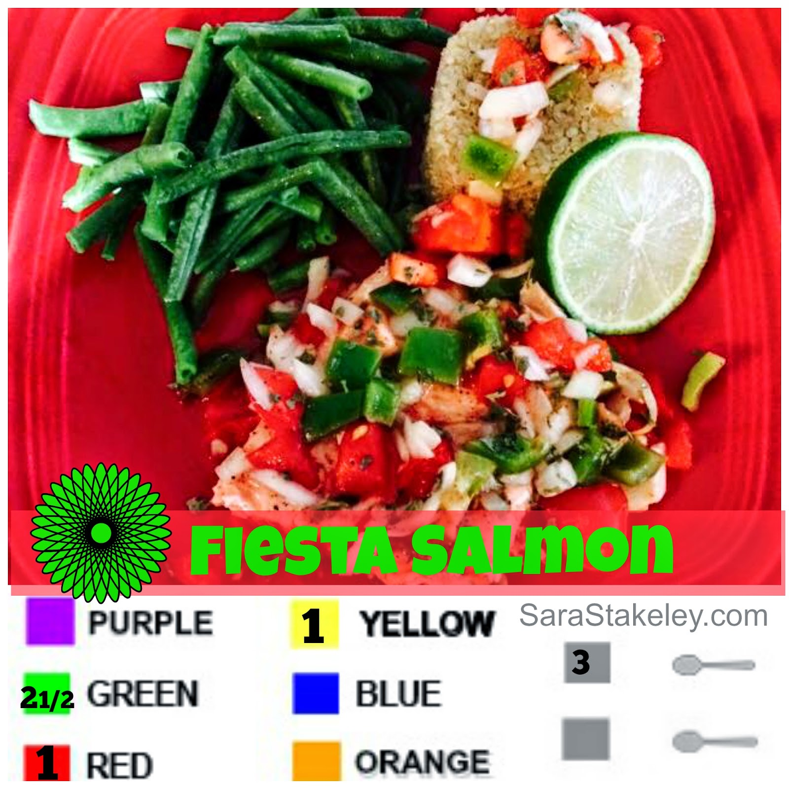 21 day day fix dinner, 21 day fix salmon, Fiesta Salmon, Sarastakeley.com, Clean eating, quinoa, Salsa, easy meals,