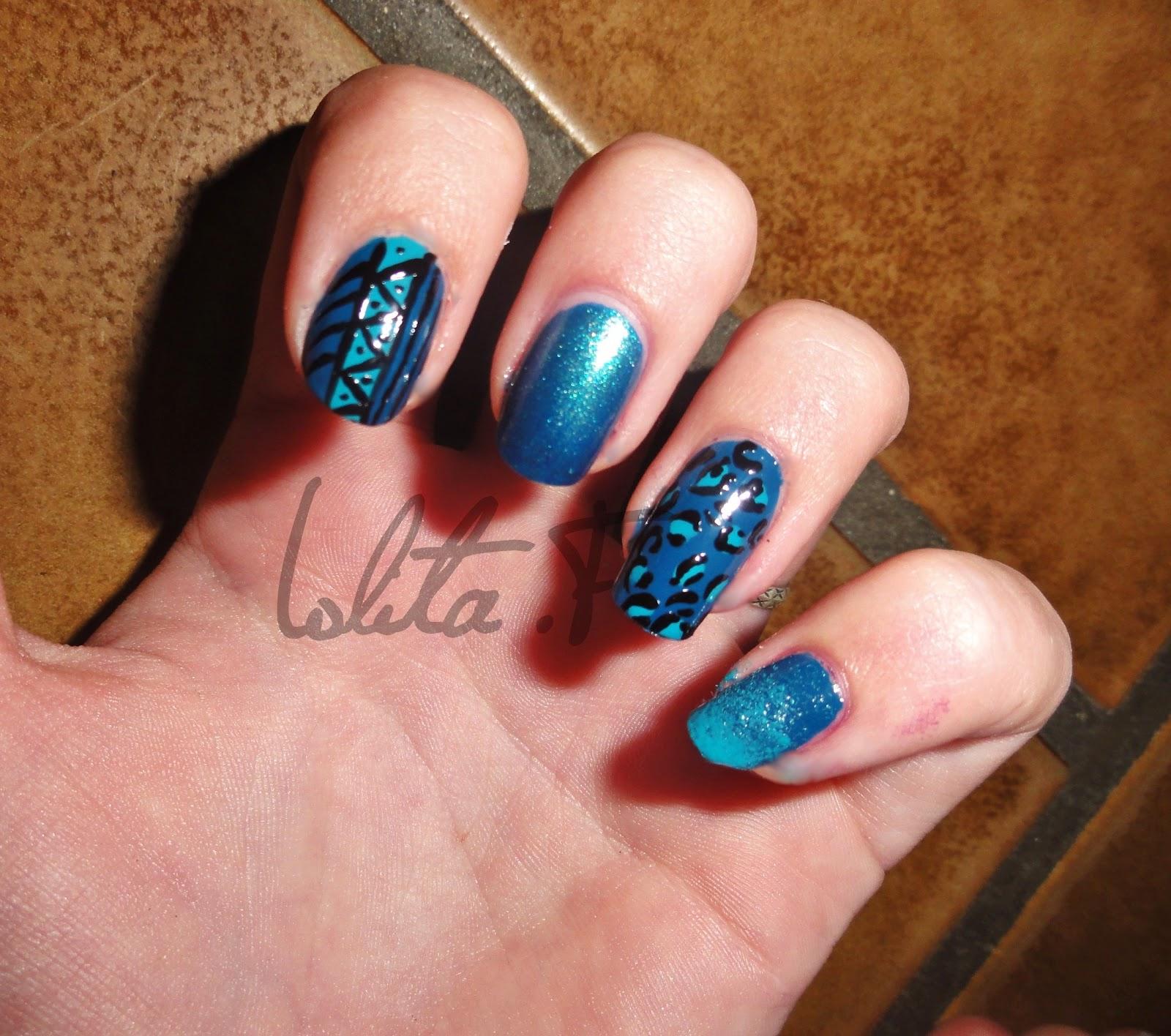 Spicysoulspirit nail art bleu aztec et l opard nail art - Nail art bleu ...