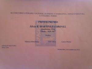 DIPLOMA AL PRIMER PREMIO NACIONAL DE POESÍA -SILVIA MARTÍNEZ CORONEL