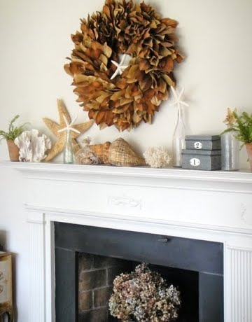 mantel decor with sea life
