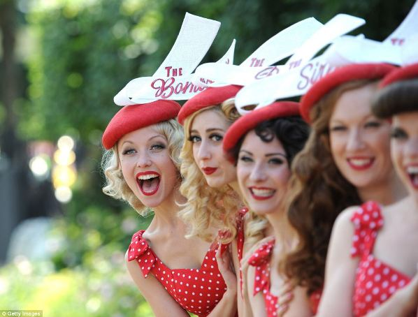 the Tootsie Rollers in red and white polka dot outfits on day four of Royal Ascot 2014
