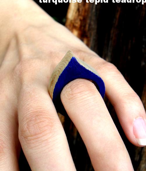 turquoise tepid teadrop ring aus holz selber machen diy wooden ring. Black Bedroom Furniture Sets. Home Design Ideas