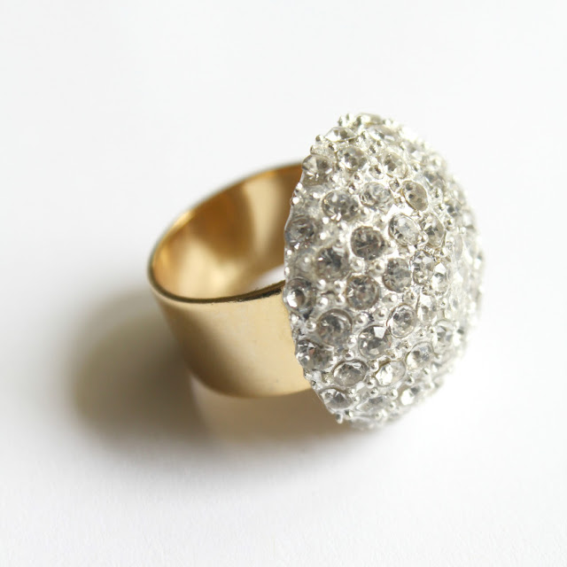 rhinestone and gold cocktail ring - catherine masi / summer 2013