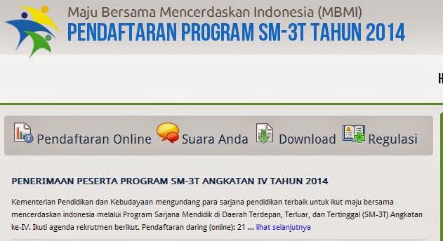 PENERIMAAN PESERTA PROGRAM SM-3T ANGKATAN IV TAHUN 2014