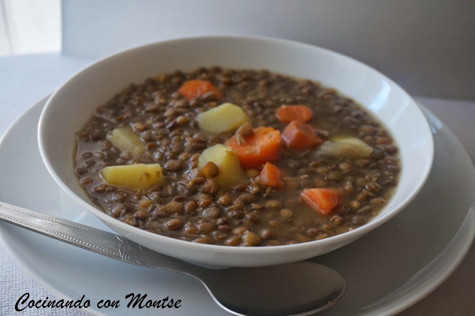 Cocinando con montse lentejas con verduras for Platos faciles de cocinar