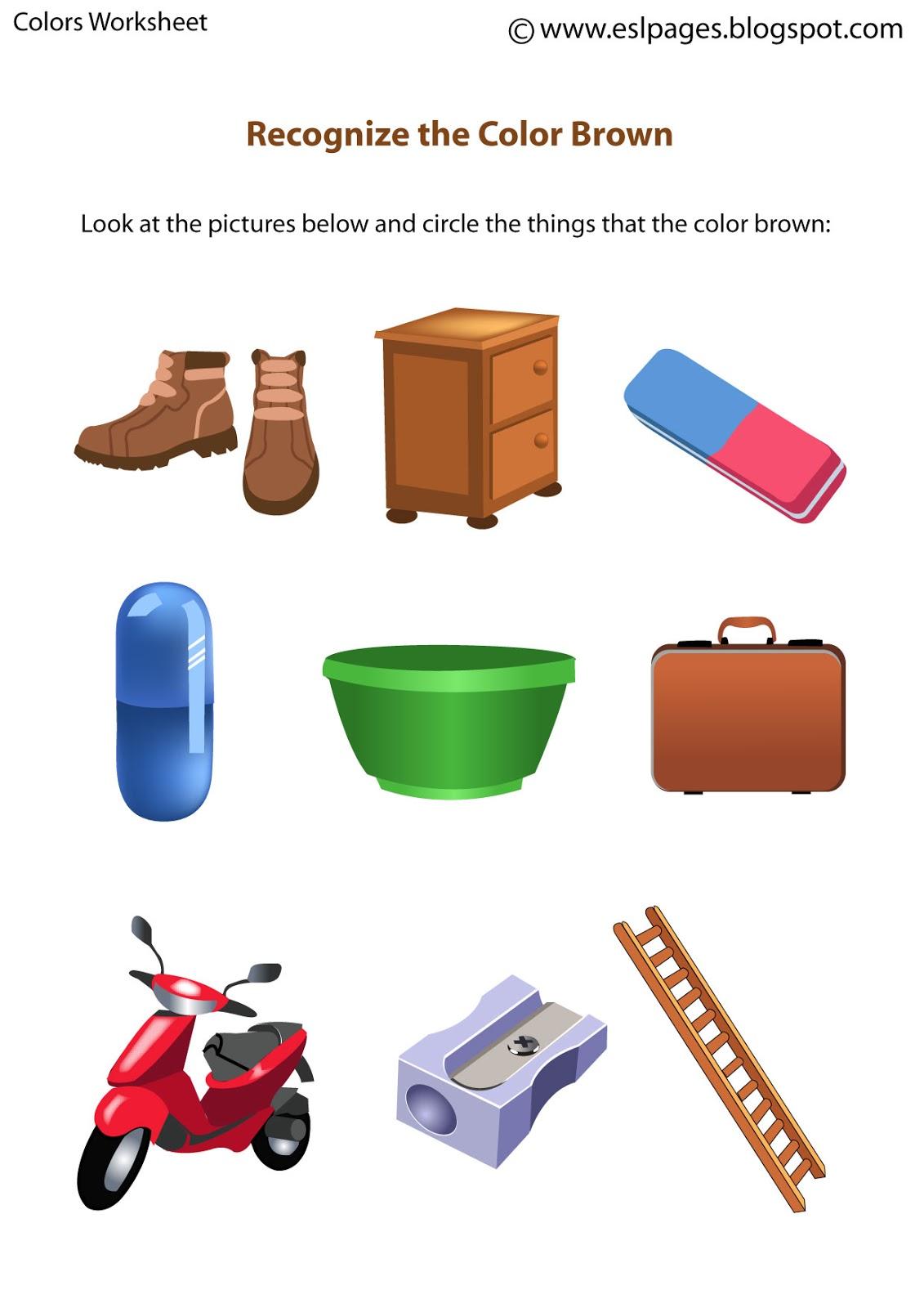 Esl Pages: Colors Worksheets