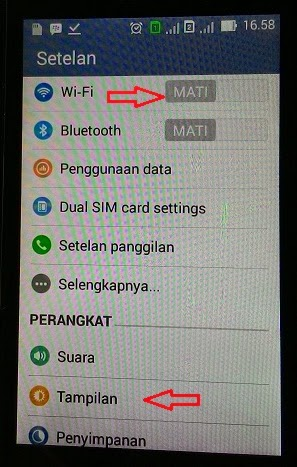 Menu setting Asus Zenfone 4