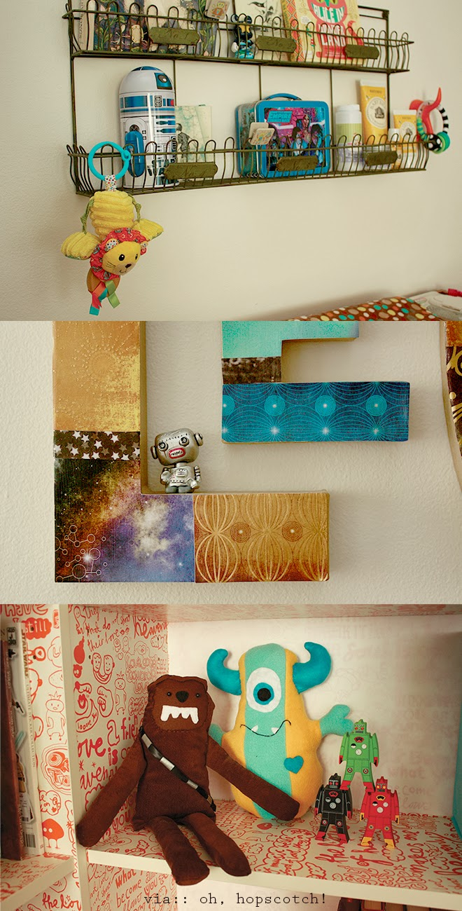 Fun space-inspired details, crafts, and storage ideas for an outerspace themed baby boy room by Oh, Hopscotch!