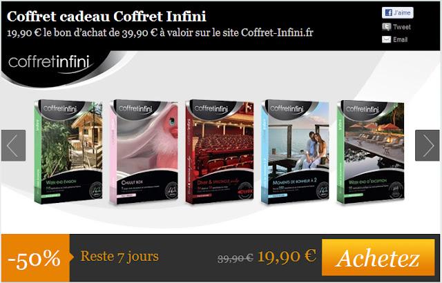 Coffret cadeau Coffret Infini 19,90 € le bon d'achat de 39,90 € à valoir sur le site Coffret-Infini.fr