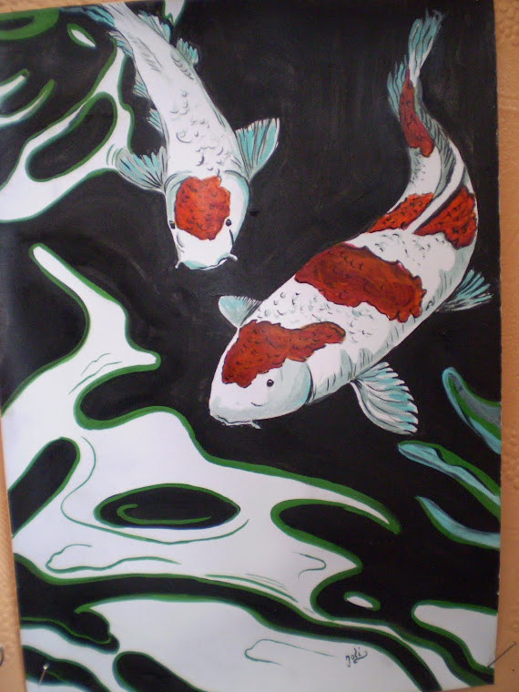 Koi fish2, watercolor, signed Joli, A4