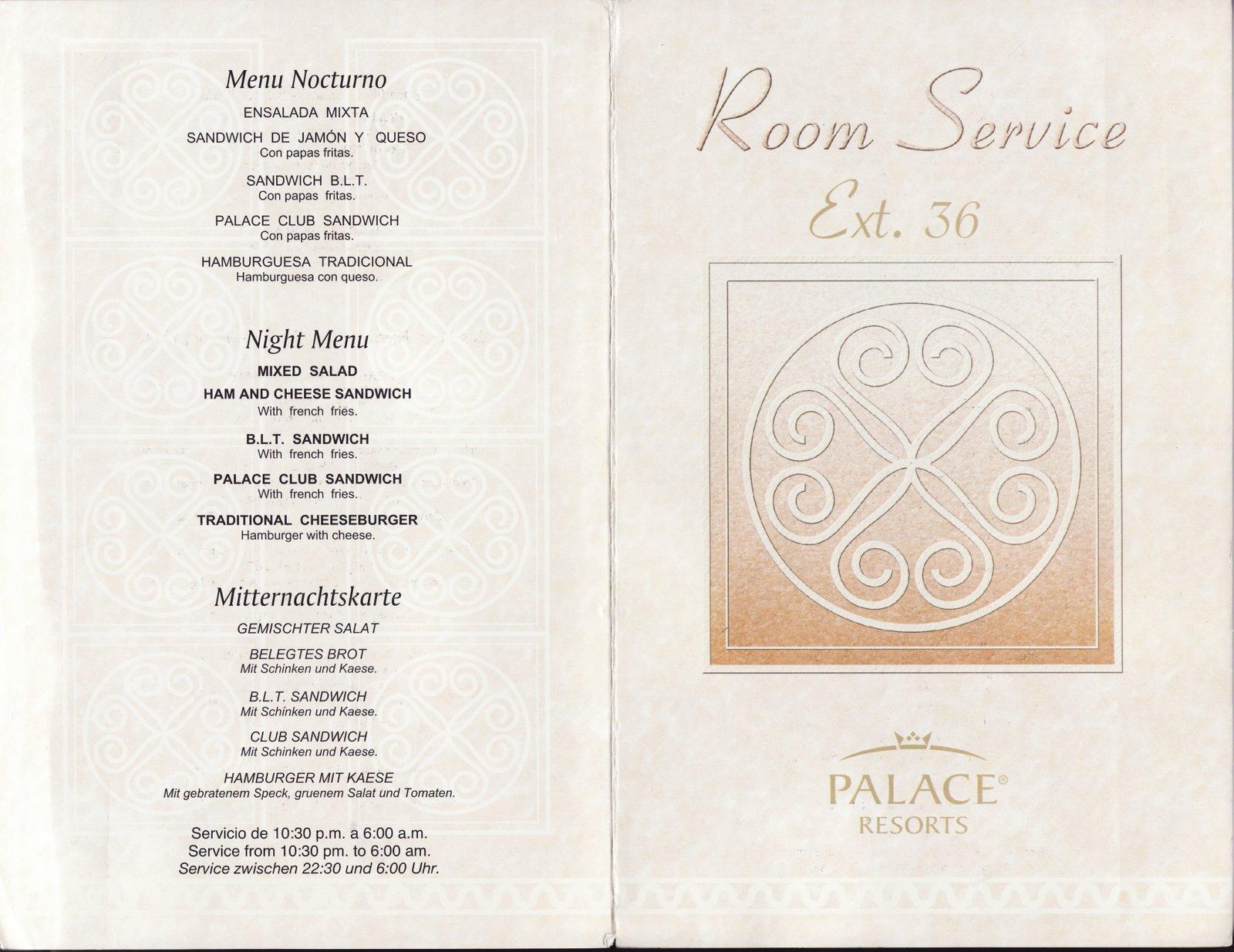 Playacar Palace Room Service Menu
